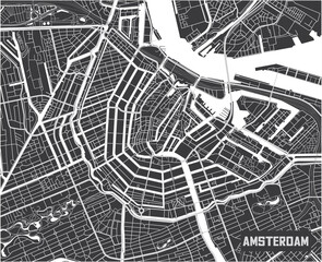 Minimalistic Amsterdam city map poster design.