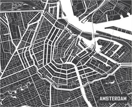 Minimalistic Amsterdam city map poster design.