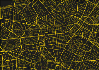 Black and yellow vector city map of Berlin with well organized separated layers.