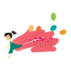 Cute Girl And Balloon. Vector Illustration