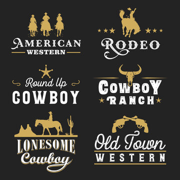 Collection of retro cowboy labels and badges, Vector