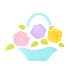 Roses in a basket paper cut on white background - isolated