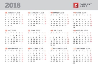 Calendar Template for 2018 Year. Stationery Design. Week starts on Monday. 12 Months on the Page. Vector Illustration