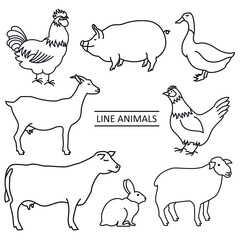 Line Farm animals Set of 8 vector isolated objects