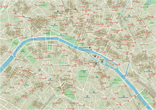 Vector city map of Paris with well organized separated layers.
