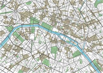 Colorful Paris vector city map