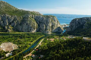 Omis town on a Cetina river, Dalmatia, Croatia