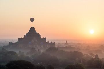 Hot air balloons with sun rise in Bagan Mandalay region, Myanmar (Burmar)