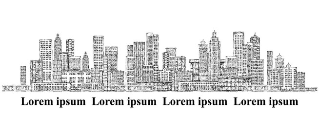City background. Hand drawn vector