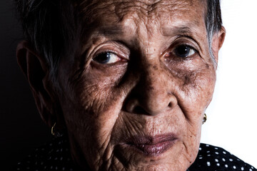 Lonely senior woman  portrait sad depressed,emotion, feelings, thoughtful, senior, old woman,wait, gloomy, worried, covering her face, Human face expressions