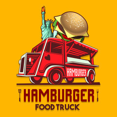 Food truck logotype for usa us american hamburger burger restaurant fast delivery service or food festival. Truck van with hamburger advertise ads vector logo