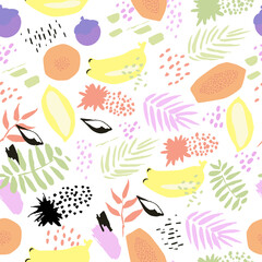 Creative abstract vector seamless background with leaves and fruits. In hand drawn style. Tropical summer mood