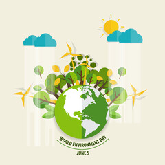 World environment day concept. Green Eco Earth. Vector illustration