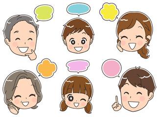 三世代家族 コミュニケーションのイラスト