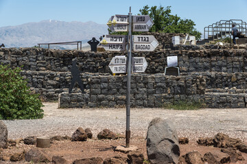 Signs at Golan Heights in Israel