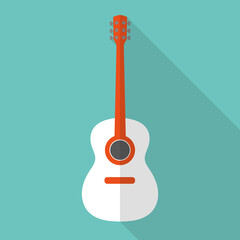 Picture of a guitar with a white body on a green background