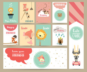Pink blue pink collection for banners,Placards with rabbit,fox,lion,bear and monkey