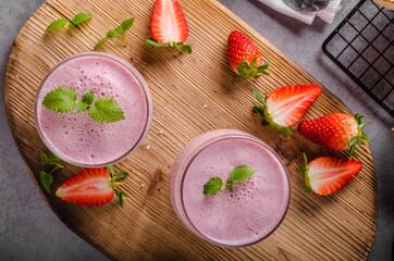 Strawberries milkshake summer drink