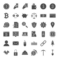 Cryptocurrency Solid Web Icons