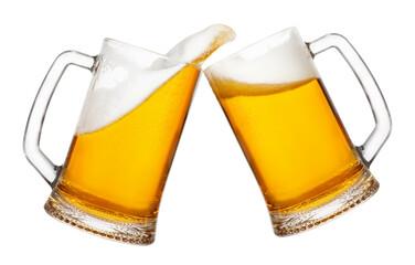 two mugs of beer with splash