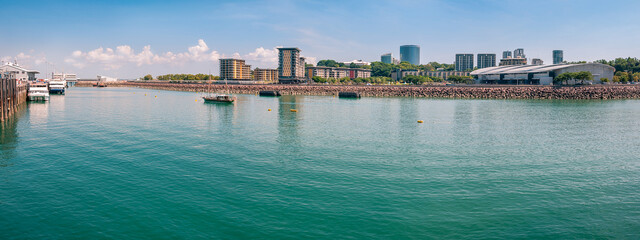 The Darwin waterfront is a popular place for restaurants, shops, water sports, and cruise ships in the capital city of the Northern Territory, Australia.