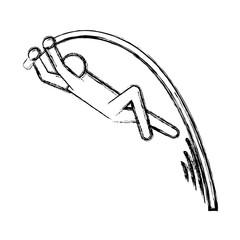 line pictogram man practice pole vault sport, vector illustration