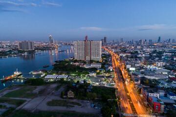 Rama 3 Rd. of Bangkok in The morning