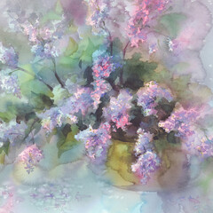 lilac flower watercolor