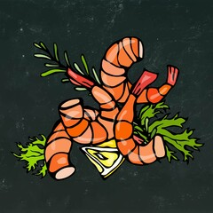 Cooked Shrimp or Prawn Cocktail, Herbs and Lemon. Isolated On Chalkboard Background Doodle Cartoon Vintage Hand Drawn Sketch