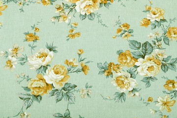 Stores photo Fleurs Vintage vintage style of tapestry flowers fabric pattern background