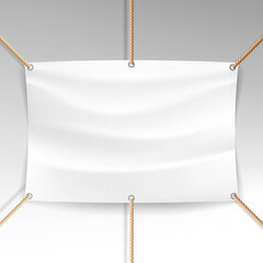 White Banner With Ropes Vector. Realistic Clear Textile Hanging Banner Template.