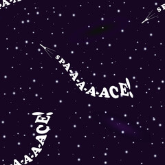 Humorous seamless pattern on the theme of space exploration. Cassini-like research shuttle is flying in deep space. Behind the shuttle you can see a train in the form of inscription Spa-a-ace!