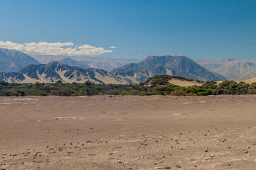 Desert surrounding Chauchilla cemetery in Nazca, Peru