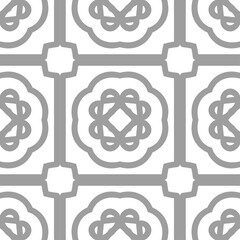 Grey luxury background seamless with ornamental pattern on white