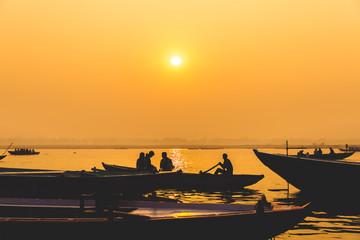 Sunrise over Ganges river in Varanasi, India