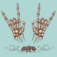 Vintage engraving rock horn sign poster, vector illustration