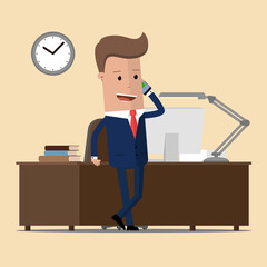 Businessman in a office workplace is sitting on a table and talking on the cellphone. Vector illustration