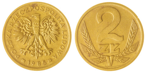 2 zloty 1985 coin isolated on white background, Poland