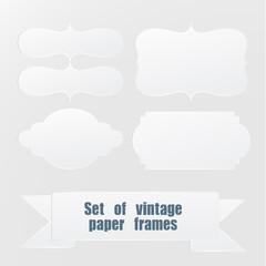 Set Of Vintage White Paper Frames