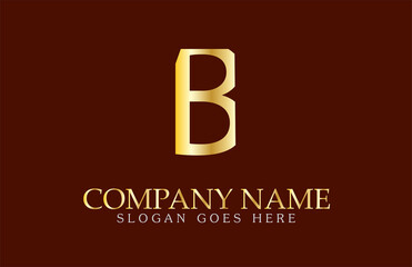B Letter Logo Design in Gold