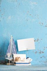 Decorative marine items on wooden background.