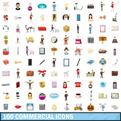 100 commercial icons set, cartoon style