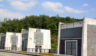 Locks on a reservoir in the Belgian Ardennes