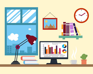 Flat design vector illustration of modern creative office workspace, workplace with computer