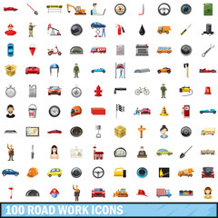 100 road work icons set, cartoon style