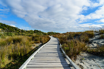 Wooden bridge at the beach of South New Zealand