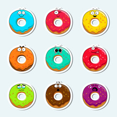Cartoon donut cute character face isolated vector illustration. Funny sweet bakery face icon collection. Cartoon face food emoji. Carrot emoticon. Funny food sticker.