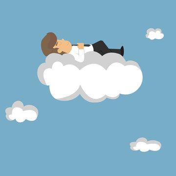 Businessman sleeping on a cloud