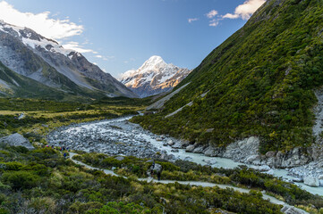 View of Mount Cook at Hooker valley track, NZ