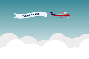 Plane with banner Happy 4th July. Vector illustration
